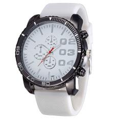 Mens Stylish Luxury Huge Big Dial Silicone Band Quartz Wrist Watch Sports Watch White