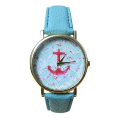 Mens Womens Anchor Faux Leather Quartz Dress Wrist Watch (Lake Blue)