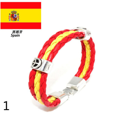 Mens Womens Leather Bracelet World Cup FIFA Soccer Fans National Flag Colorful Spain - Intl