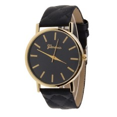 Men's Women's Minimalism Simple Round Dial Wrist Watch Checkers Faux Leather Quartz Analog Wristwatch Watches Black (Intl)