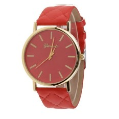 Men's Women's Minimalism Simple Round Dial Wrist Watch Checkers Faux Leather Quartz Analog Wristwatch Watches Red (Intl)