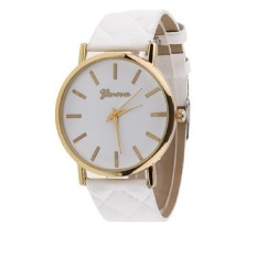 Men's Women's Minimalism Simple Round Dial Wrist Watch Checkers Faux Leather Quartz Analog Wristwatch Watches White (Intl)