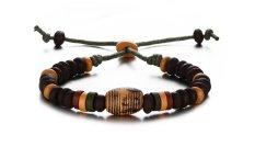 Men's Women's Porcelain Bead String Beads Braided Rope Bangle Bracelet, Length Adjustable
