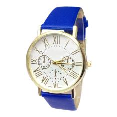 Mens Womens Quartz Faux Leather Big Roman Numerals Watch (Blue)