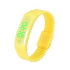Mens Womens Rubber Blue LED Watch Date Sports Bracelet Digital Wrist Watch Yellow