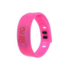 Mens Womens Rubber LED Watch Date Sports Bracelet Digital Wrist Watch Hot Pink