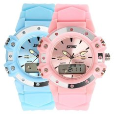 MiniCar Skmei 0821 Stainless Steel Dual Display 5ATM Fashion Watch Multi-functional Sport Digital Watch (Color:Pink)