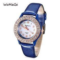 MiniCar WOMAGE 744 Female Quartz Watch Artificial Diamond Dial Luminous Pointer Leather Band Wristwatch Blue (Color:Blue) - Intl