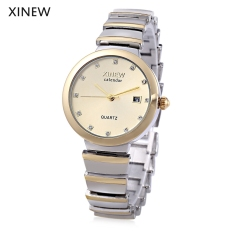MiniCar Xinew 6698 Female Quartz Watch Artificial Diamond Dial Date Display Stainless Steel Band Wristwatch Golden (Color:Golden) - Intl