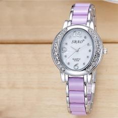 Mode penuh warna berlian mewah imitasi keramik Strap wanita gelang Watch - intl