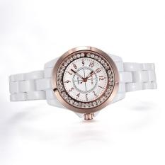 moob Brand Skone white Imitation ceramic women watches luminous rhinestones quartz mesh watches (Rose Gold)