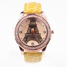 Moonar Rhinestone PU Leather Band Eiffel Tower Women Wrist Watches Yellow