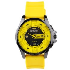 Moonar Senjue Men's Fashion Cool Quartz Sports Wristwatch Silicone Band Yellow