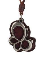 MULBA Vintage Adjustable Women Alloy Pendant Leather Necklace Brown PL1184 (Intl)
