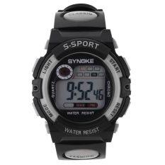 Multifungsi Digital elektronik LCD tahan air jam tangan sport untuk anak laki-laki abu-abu - International