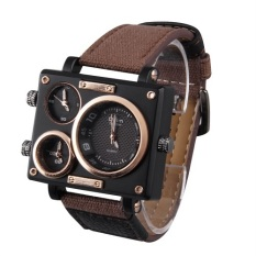 Multiple Time Zones Men's Watch Canvas Strap Square Watch For OULM Cool Style SPK-3595 Brown - Intl