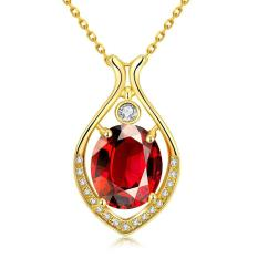 N0100-A Zircon Necklace Fashion Jewelry 18K Gold Plating Necklace (Gold) (Intl)