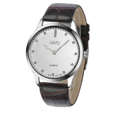 NARY Men's Casual Quartz Diamonds Leather White Black Watches