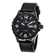 NAVIFORCE Date Week Genuine Leather Strap Sports Men Waterproof Army Military Men's Quartz Watch White (Intl)