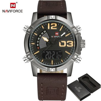 66ef79eb1 NAVIFORCE Fashion Luxury Brand Men Waterproof Military Sports Watches Men's  Quartz Digital Leather Wrist Watch relogio