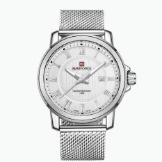 GETEK Luxury Brand Naviforce Full Reticular Steel Quartz Digital Led Military Soldiers Sports Watching Men's Watches (White / Silver)