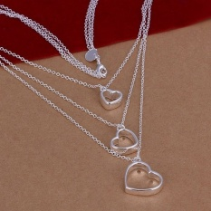 Necklace 925 Silver Fashion Jewelry Necklace 925 Silver Necklace Triple Heart Jewelry Wholesale Christmas Valentine's Day Gifts - Intl