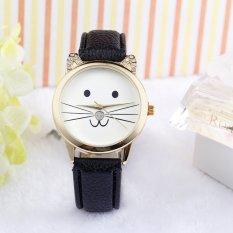 Neutral Diamond Lovely Cats Face Faux Leather Quartz Watch Black (Intl)
