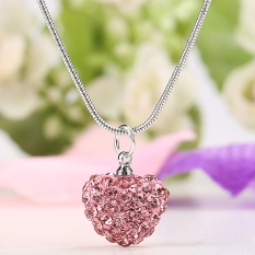 New 1PC Women Charming Heart Pendant Necklace Link Chain Resin Rhinestone Decor Casual Party