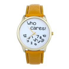 New Style Who Cares Irregular Figure High Quality Women Wristwatch Fashion Watches (Yellow) - Intl