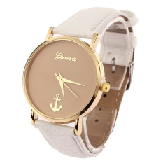 New Anchors Pattern Leather Band Quartz Analog Female Form Large Dial (White)