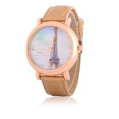 New Design Women Rhinestone Watches Luxury Crystal The Tower Watch Fashion Quartz Wristwatches (Khaki)