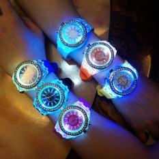 New Fashion Geneva diamond LED Watch Watches Quartz Jelly Silicone(Black) - intl