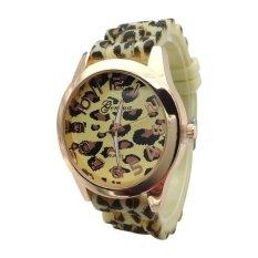 NEW Fashion Geneva Watch Silica Gel Jelly Watch Rose Gold Leopard Print Watch Sports Quartz Watch For Women & Man (Gold Yellow) (Intl)
