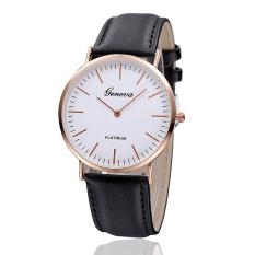 New Fashion Geneva Watch Women PU Leather Strap Quartz Watches (Black)