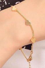 New Fashion Women Girls Heart Star Gold Plated Chain Bracelet Bangle Jewelry - intl