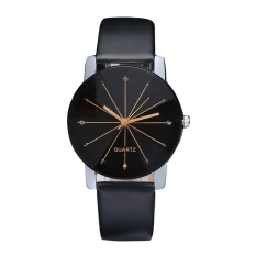 New Fashion Women Men's Top Lover Dial Clock Leather Quristwatch Big (Intl)