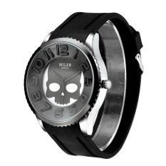 New Fashion Women Watch Silicone Wristband Watch With Skull Pattern-Black