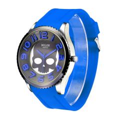 New Fashion Women Watch Silicone Wristband Watch With Skull Pattern-Blue