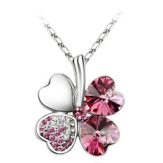 New Four Leaf Style Crystal Rhinestone Lucky Clover Pendant Necklace Xmas Gift