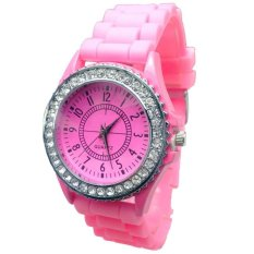 New Geneva Silicone Golden Quartz Men / Boy / Lady / Women / Girl Jelly Wrist Watch Pink (Intl)