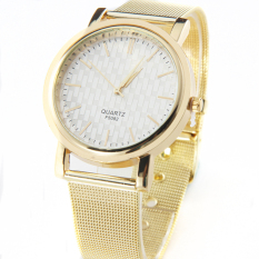 New Gold Classic Womens Quartz Stainless Steel Wrist Watch Lady Style (Gold)