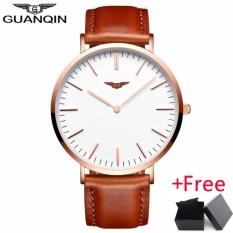 New GUANQIN Mens Watch Jam Tangan es Top Brand Luxury Ultra Thin Quartz Watch Jam Tangan Men Simple Fashion Leather Strap WristWatch Jam Tangan GS19050 - intl