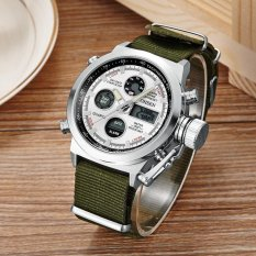 New In 2016 OHSEN Brand Military Quartz Fashion Wristwatch Mens Male Canvas Band White Digital Led Outdoor Sports Watches Gifts - Intl