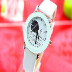 New Korea Style Leather Band Fashion Couples Watch (White)