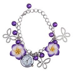 New Lady Women Flower Butterfly Bracelet Jewelery Quartz Wrist Watch Purple