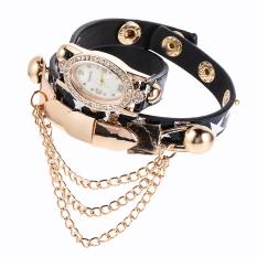 New Leather Star Bracelet Wristwatch Women Chain Hot Wirst Watch Black (Intl)