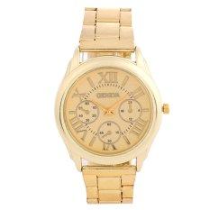 New Luxury Geneva Women Lady Gold Stailess Steel Roman Analog Quartz Wrist Watch-Gold Gold Surface