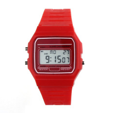 New Silicone Rubber Strap Retro Vintage Digital Watch Boys Girls Mens Red