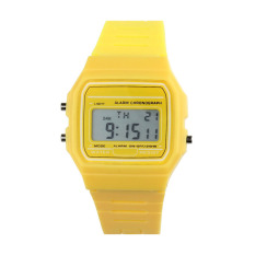 New Silicone Rubber Strap Retro Vintage Digital Watch Boys Girls Mens Yellow