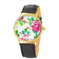 New Style Geneva Woman Analog Quartz Watch Flower Face Style Leather Band (Black)